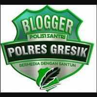 Logo Blogger Polres Gresik + POLISI SANTRI + Bermedia dengan Santun